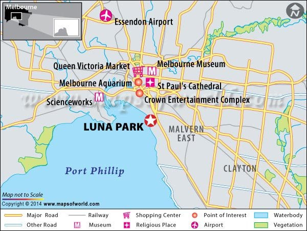 Location Map of Luna Park in Melbourne