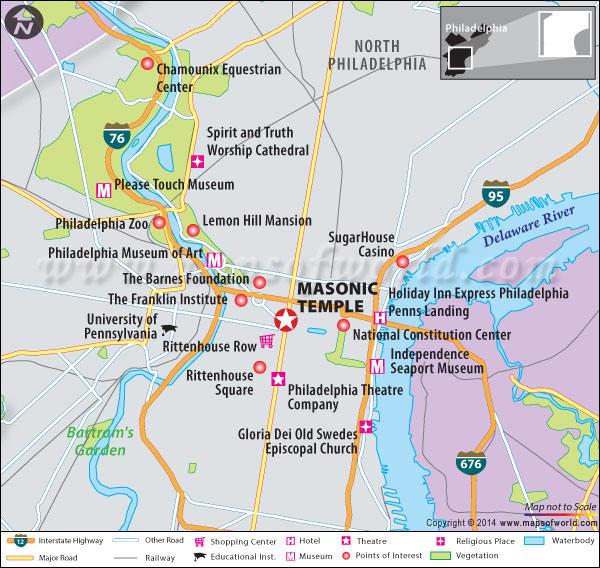 Location map of Masonic temple