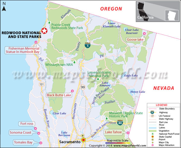 Location map of Redwood nation and state park