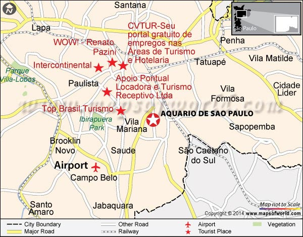 Location Map of Sao Paulo Aquarium Brazil