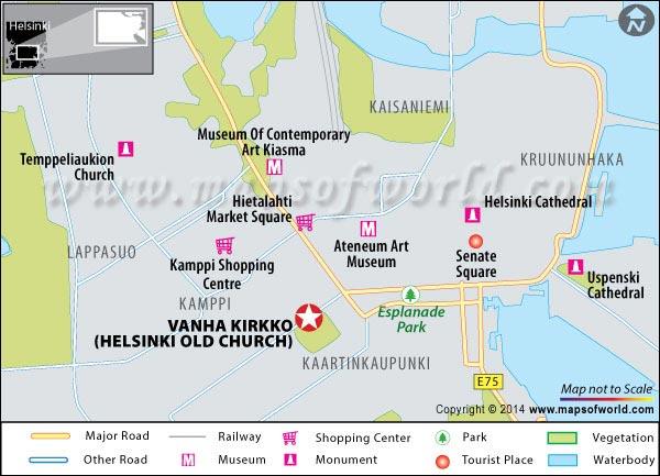 Location Map of Vanha Kirkko (Helsinki Old Church)