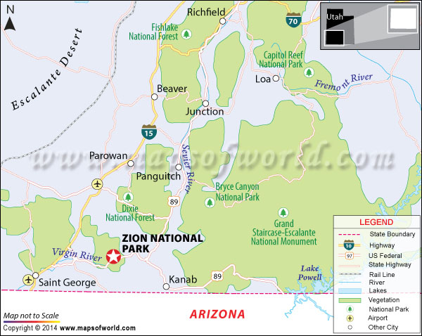 Location map of Zion National Park