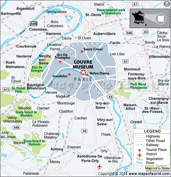 Location Map of Louvre Museum