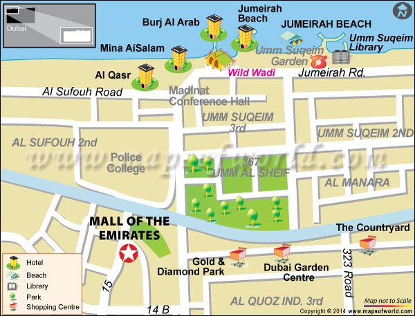 Location Map of Mall of the Emirates in DubaiLocation Map of Mall of the Emirates in Dubai