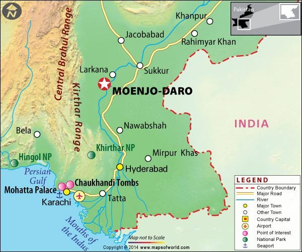Location Map of Mohenjodaro in Pakistan