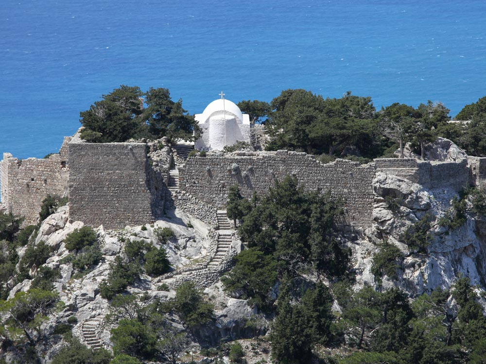 Monolithos Castle at the island of Rhodes in Greece