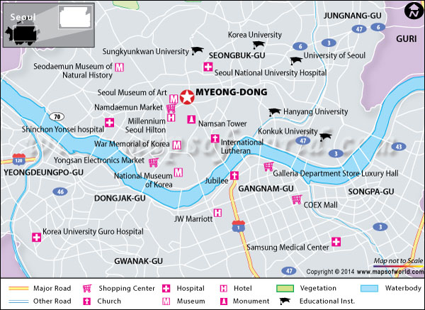 Location map of Myeong Dong, Seoul