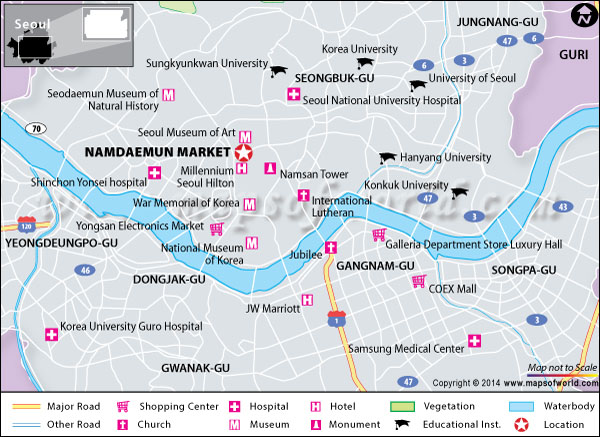 Location map of Namdaemun Market, Seoul