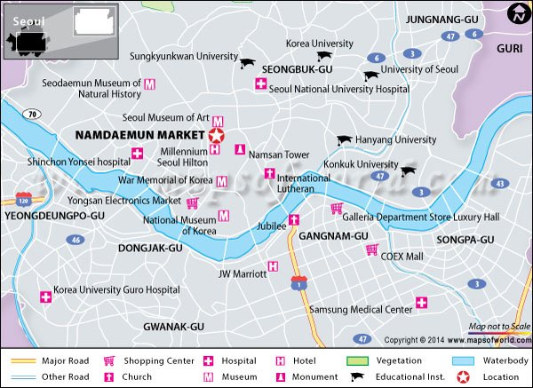 Location map of Namdaemun Market in Seoul