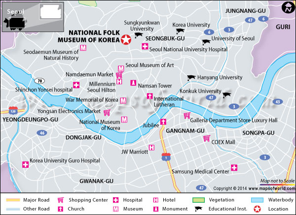 Location map of National folk museum of South Korea