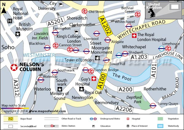 Location Map of Nelson's Column