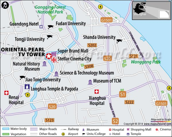 Location Map of Oriental Pearl TV Tower