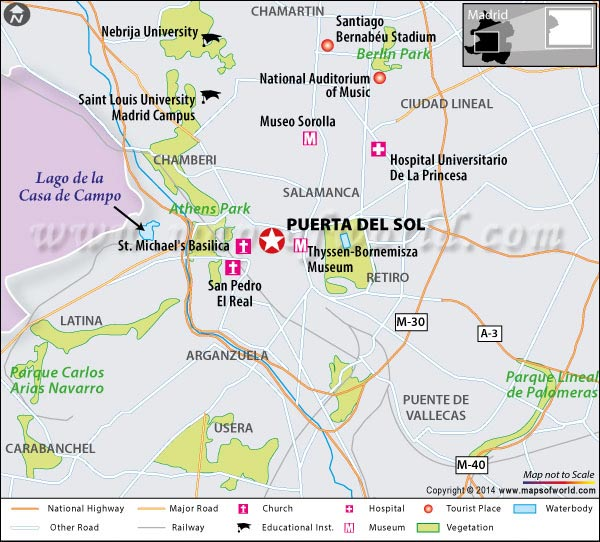 Location Map of Puerta Del Sol