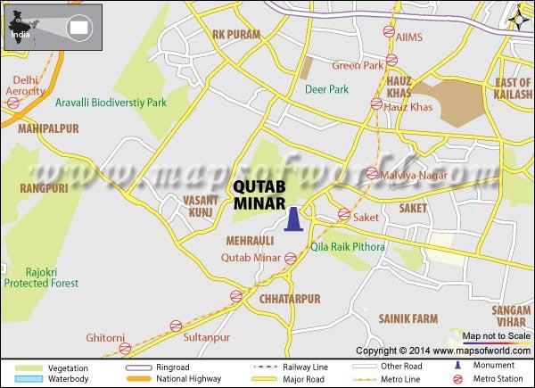 Qutub Minar Map