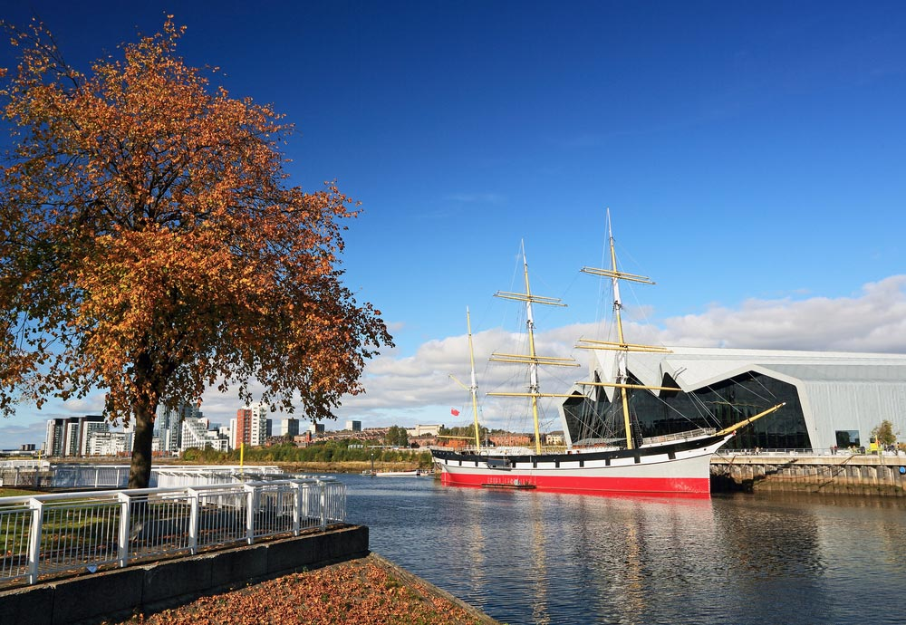 The Riverside Museum and the Tall Ship at Glasgow, Scotland