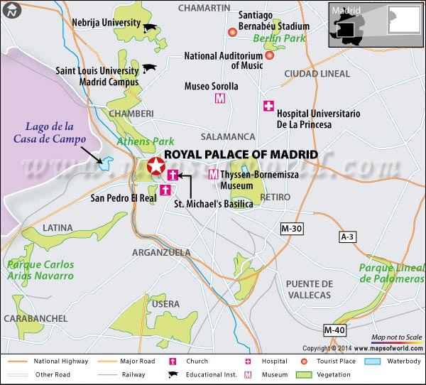 Location Map of Royal Palace of Madrid, Spain