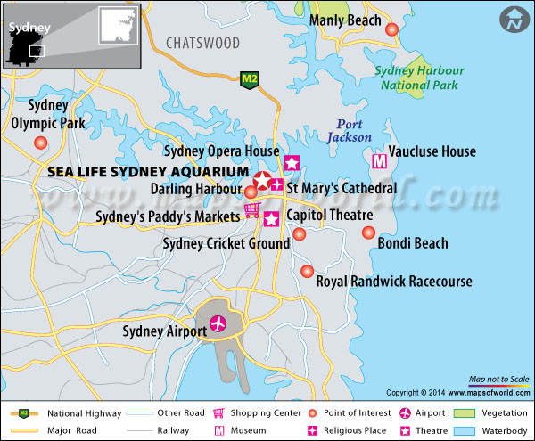 Location map of Sea Life Sydney aquarium