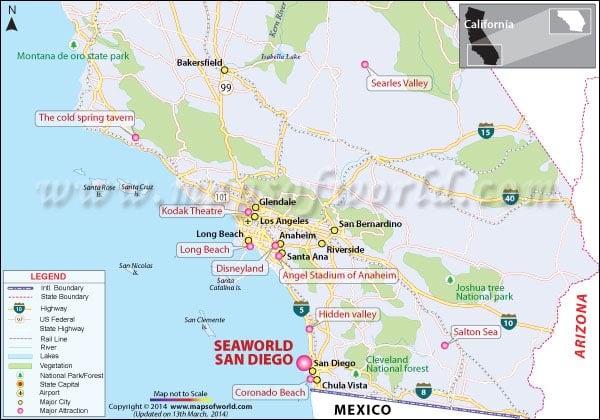 Map of Seaworld, San Diego