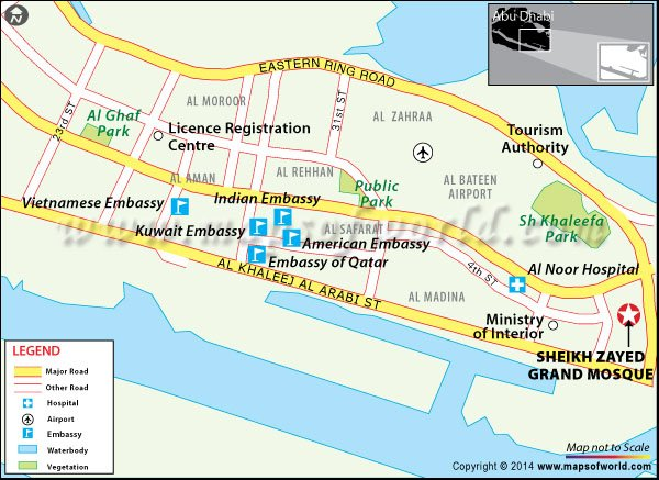 Location map of Sheikh Zayed Grand Mosque