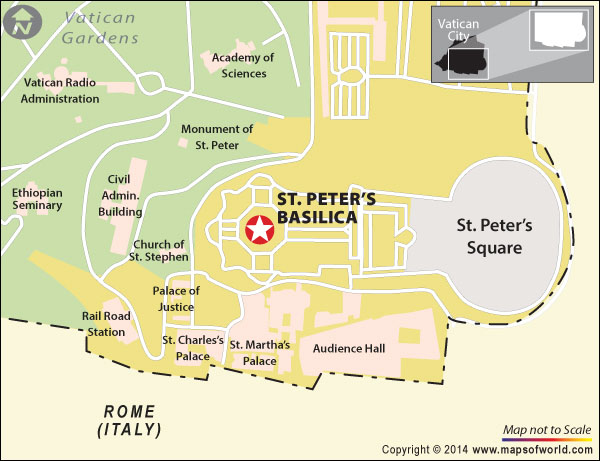 Location map of St. Peter's Basilica