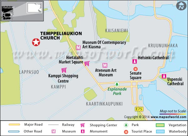 Location Map of Temppeliaukio Church in Finland