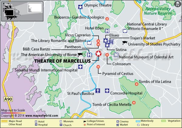 Location Map of Theatre of Marcellus in Rome, Italy