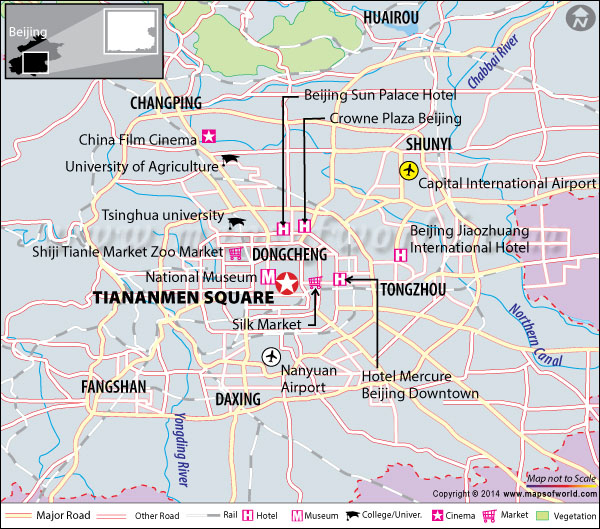 Location map of Tiananmen Square