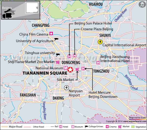 Location map of Tiananmen Square
