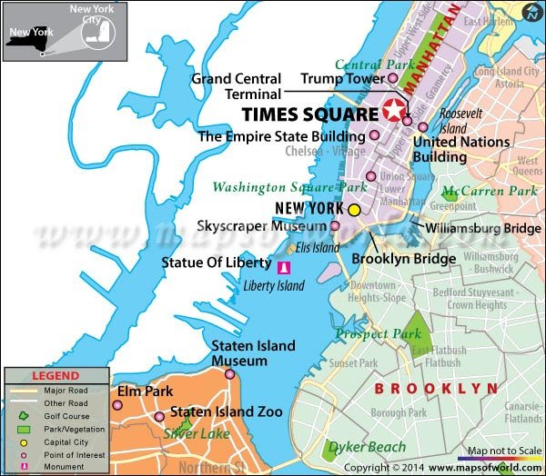 Location Map of Times Square, New York