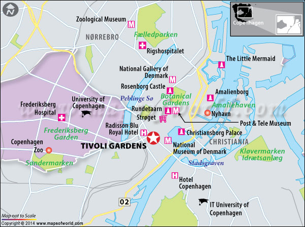 Location map of Tivoli gardens in Copenhagen
