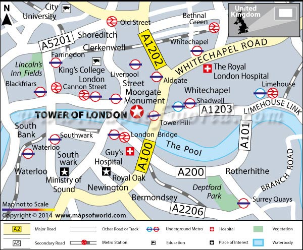 Location Map of Tower of London