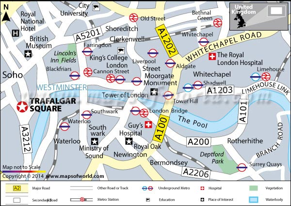 Location Map of Trafalgar Square