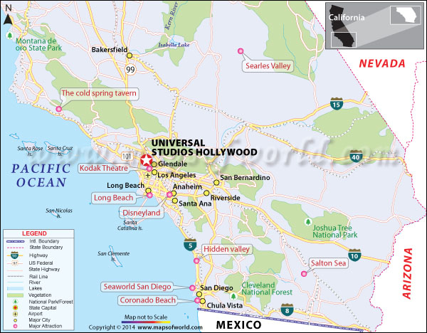 Location map of Universal Studios, Hollywood