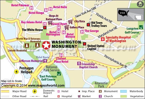 Washington Monument US Map Facts Location History Hours - Washington on the us map