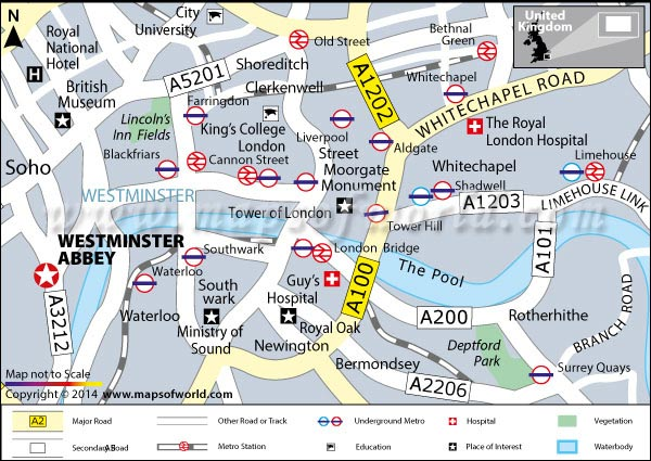 Location Map of Westminster Abbey