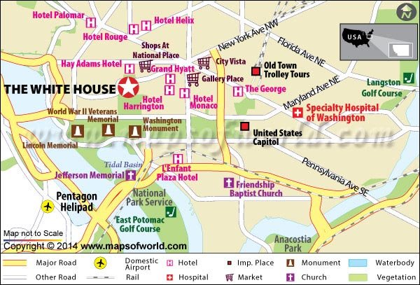 The White House Washington DC Travel Information - Us map showing washington dc