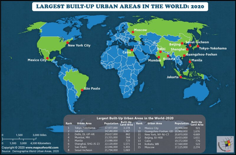 World Map Highlighting the Largest Built-up Urban Areas