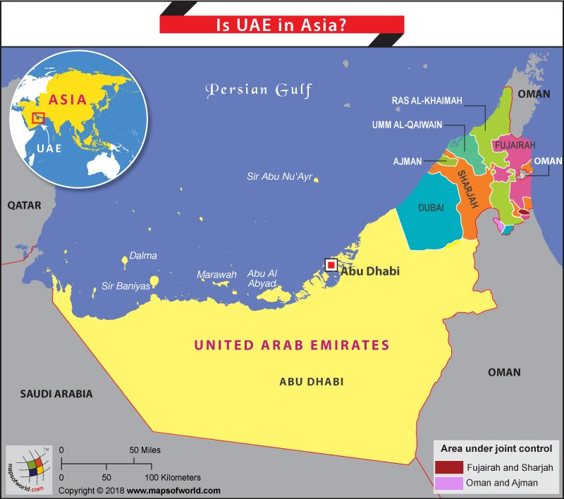 Map of UAE a country in Asia