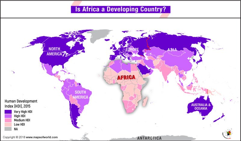 World Map providing comparative HDI of each continent