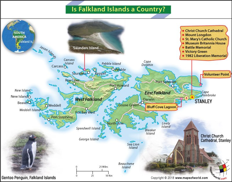 Map of the Falkland Islands marking the Point of Interests
