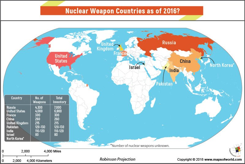 World map highlighting countries having nuclear weapons answers world map highlighting countries having nuclear weapons gumiabroncs Image collections