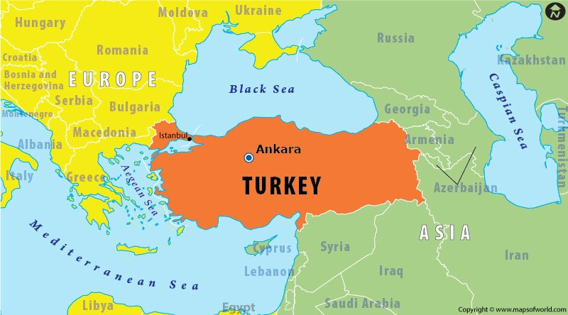 Map highlighting the location of Turkey in Asia and Europe Answers