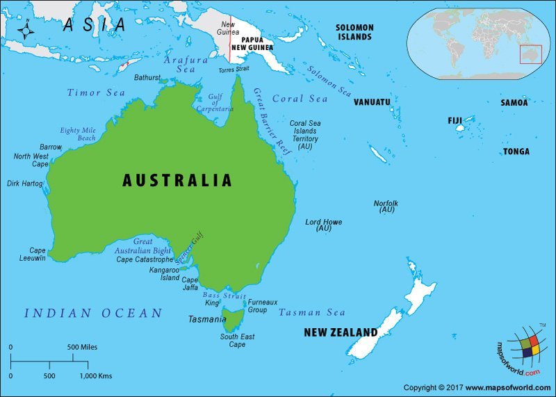 Oceania Map highlighting Australia