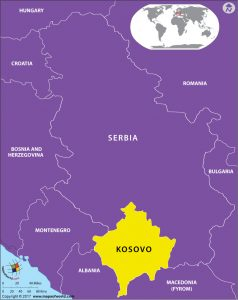 Europe Map showing location of Kosovo