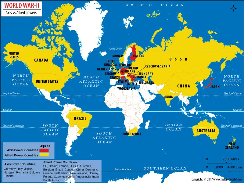 Which countries won world war ii answers world map showing allied and axis countries gumiabroncs Choice Image