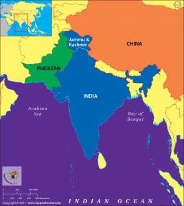 Map of India highlighting Kashmir