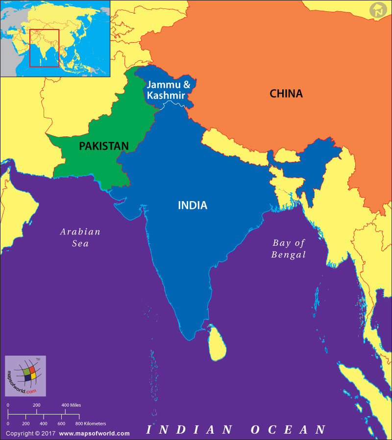 Map of India highlighting Kashmir