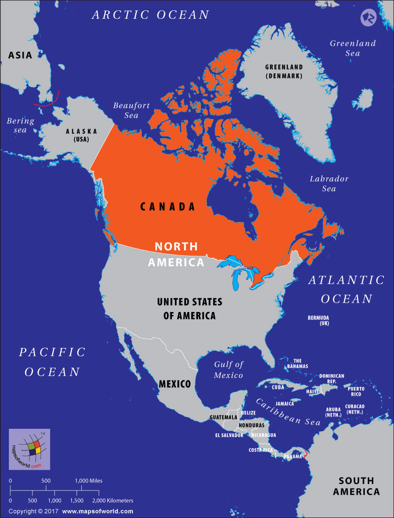 Map showing Canada where abortion is legal