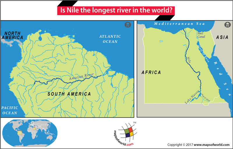 Map showing Amazon and Nile rivers