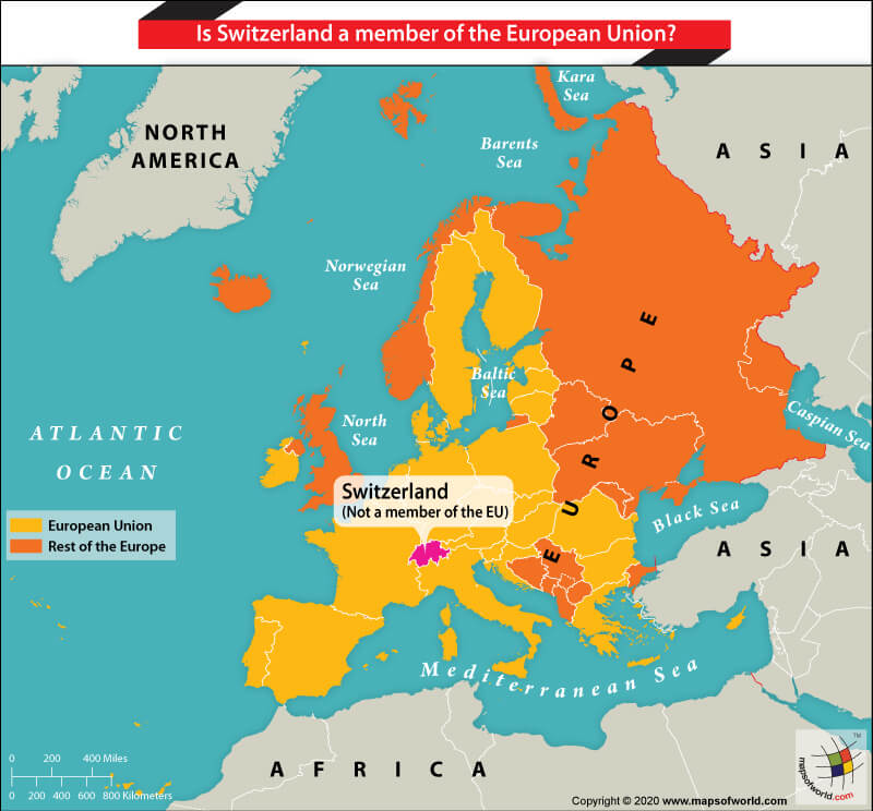 map of europe showing switzerland Map of Europe Showing the Location of Switzerland   Answers